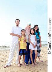 feliz, musulmán, familia