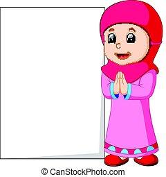 feliz, musulmán, niña, caricatura, tenencia, muestra en blanco