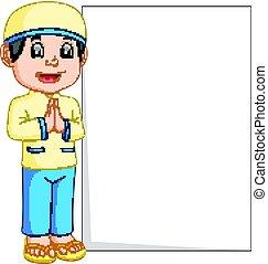 feliz, musulmán, niño, caricatura, tenencia, muestra en blanco
