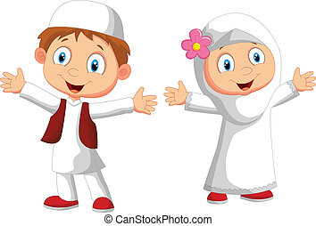 feliz, musulmán, niño