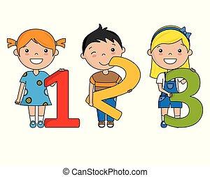 feliz, números, crianças