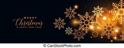 feliz natal, bandeira, dourado, pretas, snowflakes