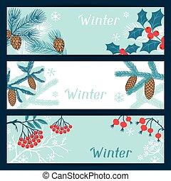 feliz natal, bandeiras, com, stylized, inverno, branches.