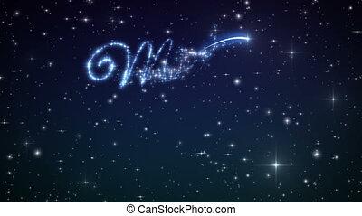 feliz natal, bonito, texto, aparência, animação, em, a, noturna, inverno, sky., texto, feito, de, stars., hd, 1080., loop-able.