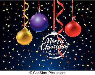 feliz natal, cartão cumprimento, com, cor, baubles