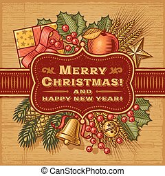 feliz natal, cartão, retro
