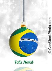 feliz natal, de, brazil., bola natal, com, bandeira