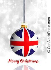 feliz natal, de, unidas, kingdom., bola natal, com, bandeira