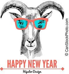 feliz natal, e, feliz ano novo, cartão, com, aquarela,...