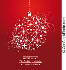 feliz natal, e, feliz ano novo, estrelas, bauble, cartão