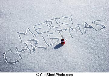 feliz natal, escrito, em, a, neve