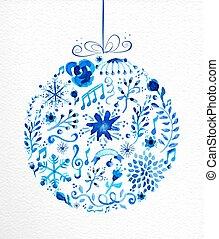 feliz natal, mão, desenhado, bauble, ilustração