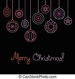 feliz natal, natal, bolas, vetorial, ilustração