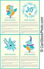 feliz natal, pássaros, e, texto, vetorial, ilustração