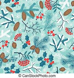 feliz natal, seamless, padrão, com, inverno, branches.