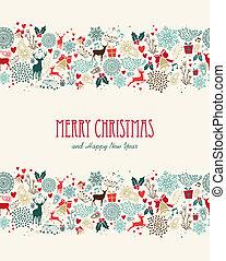 feliz natal, vindima, seamless, padrão