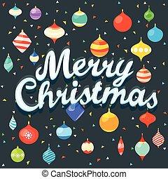 feliz, natal., xmas, cartão cumprimento, com, cor, baubles