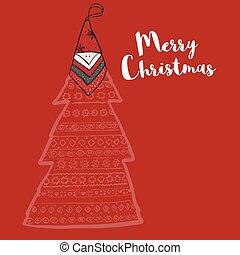 feliz navidad, árbol, con, santa sombrero