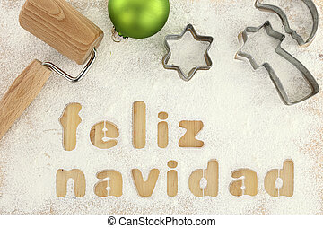 Feliz navidad baking preparation background
