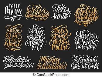 feliz, navidad, feliz, pascua, etc, translated, de, español,...