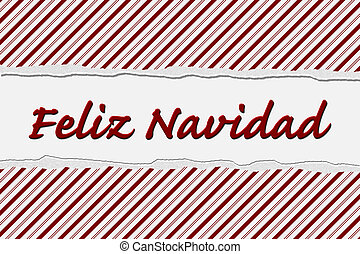 Feliz Navidad Happy Holidays - Candy Cane Striped Christmas...