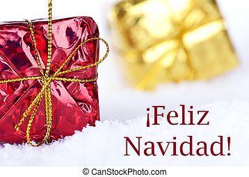 Feliz Navidad in the Snow with Gifts - Christmas Gifts in...