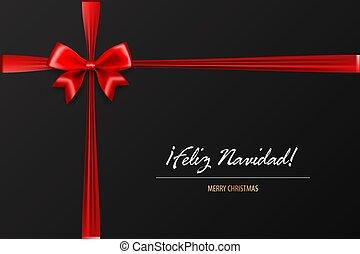 Holiday Christmas red gift silk bow - Feliz Navidad - Merry...