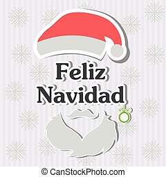 Feliz Navidad - Merry Christmas spanish text - Vector...