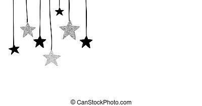 feliz navidad, -, moderno, limpio, plano de fondo, con, negro y, plata, estrellas, guirnaldas