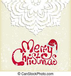 feliz navidad, plano de fondo, copo de nieve