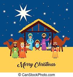 feliz navidad, saludos, con, jesús, nacido, en, pesebre,...