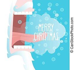 feliz, navidad., santa claus, shouts., copos de nieve, mosca, y, otoño, en, tongue., invierno, estridente, en, calle., abierto, su, boca, y, tongue., fuerte, greeting., grito, yells