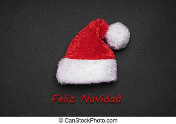 Feliz Navidad spanish christmas greeting card with santa hat