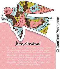 feliz navidad, tarjeta, con, ángel, colorido