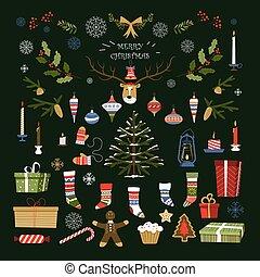 feliz navidad, tradicional, símbolos, y, artículos, de,...