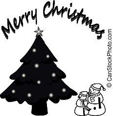 feliz navidad, y, árbol de navidad