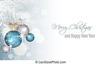 feliz navidad, y, feliz año nuevo, saludo, card.