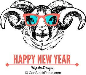 feliz navidad, y, feliz año nuevo, tarjeta, con, bosquejo,...