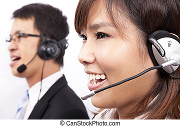feliz, negócio, apoio freguês, menina, com, um, headset