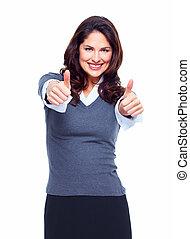 feliz, negócio, woman., success.