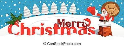 feliz, nevado, claus, chaminé, bandeira santa, natal, paisagem