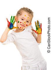 feliz, niña, paiter, actuación, manos