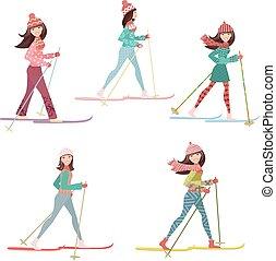 feliz, niñas, esquí, país, cruz