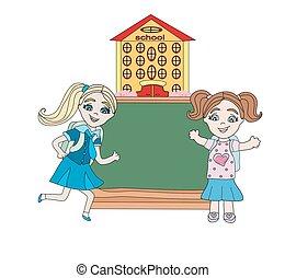 feliz, niñas, ir, a, escuela, -, resumen, marco