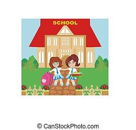 feliz, niñas, ir, a, escuela