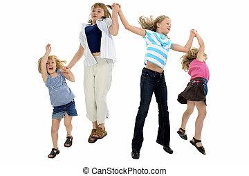 feliz, niñas, saltar