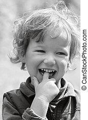 feliz, niño de risa