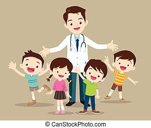 feliz, niño, doctor, lindo