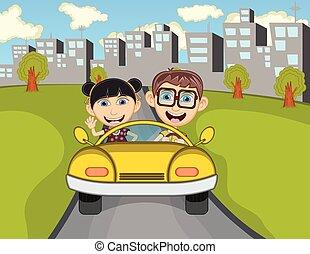 feliz, niño, en, un, coche, con, ciudad
