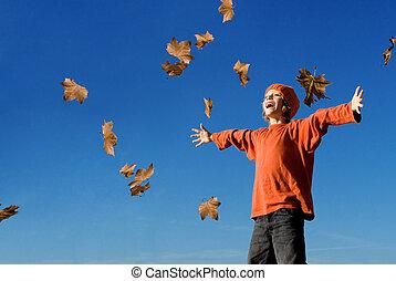 feliz, niño, gritos, o, canto, en, otoño, otoño
